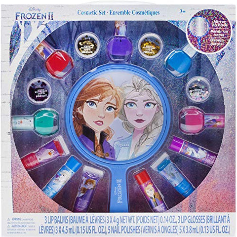 Townley Girl Disney Frozen 2 Non-Toxic Peel-Off Nail Polish, Lip Gloss and Mirror Set for Girls, Glittery and Opaque Colors, Ages 3+ - 16 Pcs