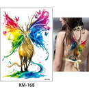 Image of 5 Sheets Watercolor Body Temporary Tattoo Sticker Wolf Elephant Picture Design Leg Arm Art Sexy