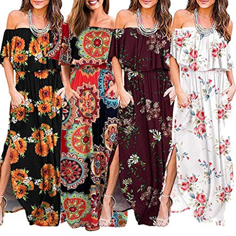 terbklf Vintage Dresses for Women Casual Summer Party Dress with Pockets Boatneck Ruffles Sunflower Printing Maxi Dress Orange