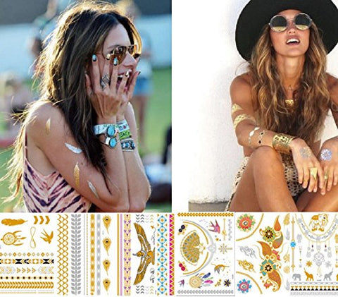 Temporary Tattoos, ANNE & SOUL 6/8/10 Sheets Gold Silver Glitter, 80+ Color Flash Fake Waterproof Tattoo Stickers For Vibe Music Festivals Bohemian (6 Sheets(AN-48,49,51,53,54,55))