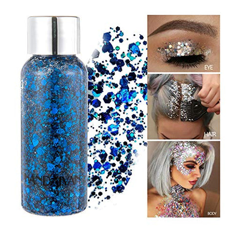 GL-Turelifes Mermaid Sequins Chunky Glitter Liquid Eyeshadow Glitter Body Gel Festival Glitter Cosmetic Face Hair Nails Makeup Long Lasting Sparkling 30g (05# Blue)