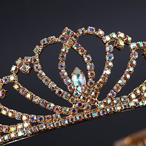 Frcolor Bridal Princess Tiara Headpiece with Sparkle Colorful Crystal Rhinestones
