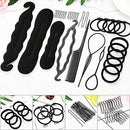 Image of 107Pcs Hair Styling Accessories Kit Set DIY Hair Styles Bun Maker Hair Braid Tool Making Black Magic Hair Twist Styling Accessories for Girls or Women
