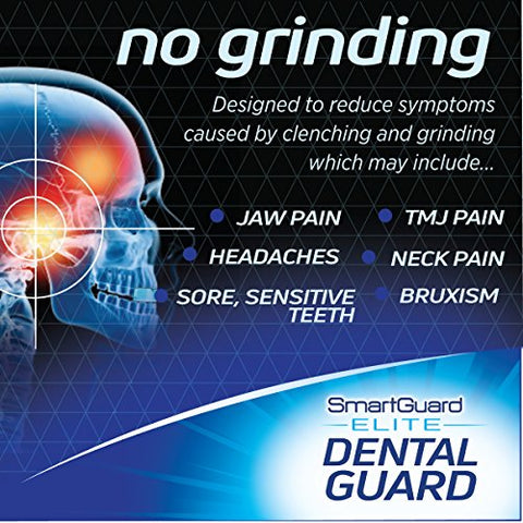 SmartGuard Elite Night Guard (2 Guards & 1 Cleaning Case) for Clenching & Grinding Teeth (Bruxism), Dentist's Choice, Covers Upper Front Teeth, Personal Comfort Fit