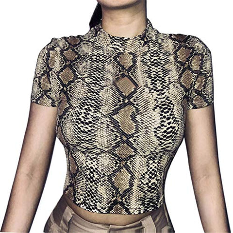 Xinantime Womens O-Neck Short Sleeve Snake Striped Print Short Crop Top T-Shirts (Brown,L)