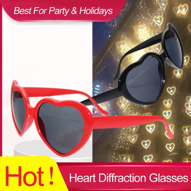 1pc Red Heart Shape Diffraction Grating Party Rave Glasses Plastic, Orbit Light Show Fireworks Refraction Laser Glasses