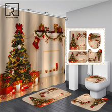 Load image into Gallery viewer, Christmas Trees Printed Shower Curtains for Bathroom Bathing Screen with Anti-slip Mat Carpet Toilet Partition 3D Festival Decor