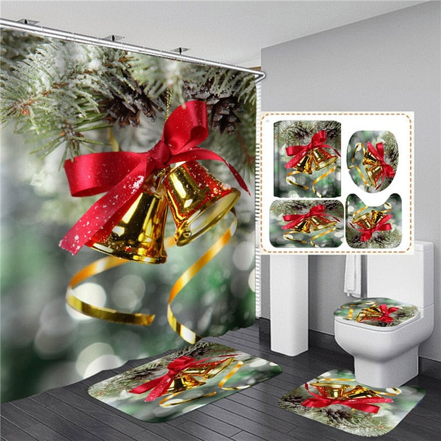 Christmas Trees Printed Shower Curtains for Bathroom Bathing Screen with Anti-slip Mat Carpet Toilet Partition 3D Festival Decor