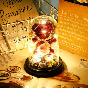 New Teddy Bear Rose Flowers In Glass Dome Christmas Festival DIY Cheap Home Wedding Decoration Birthday Valentine's Day Gift D30