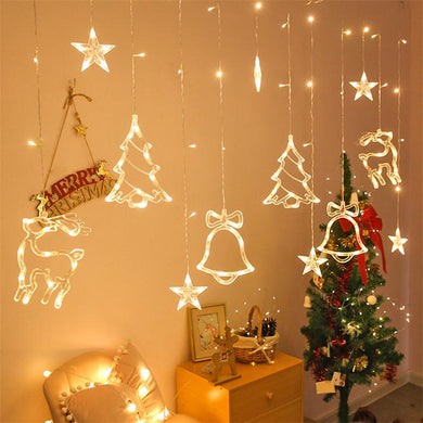 Christmas lights led 3.5m Curtain light garland star Bells decor for home 220V Fairy Lights Outdoor/Indoor Festival String Light