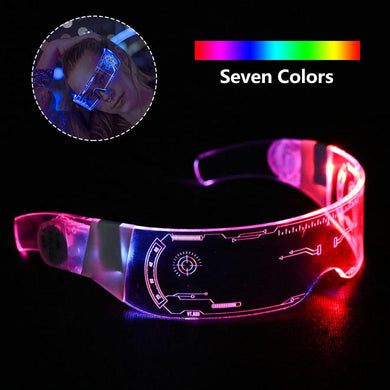 LED Luminous Glasses Futuristic Electronic Visor Glasses Light Up Glasses Prop for Christmas Festival KTV Bar Performance
