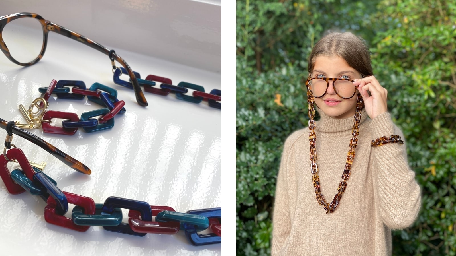 Girl wearing VIC square shiny glasses chain