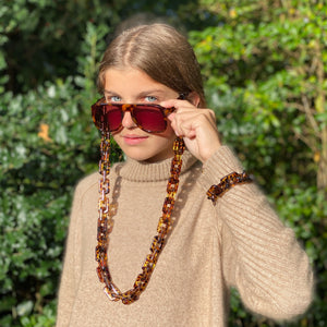 Chantal square glasses chain in transparent brown leopard