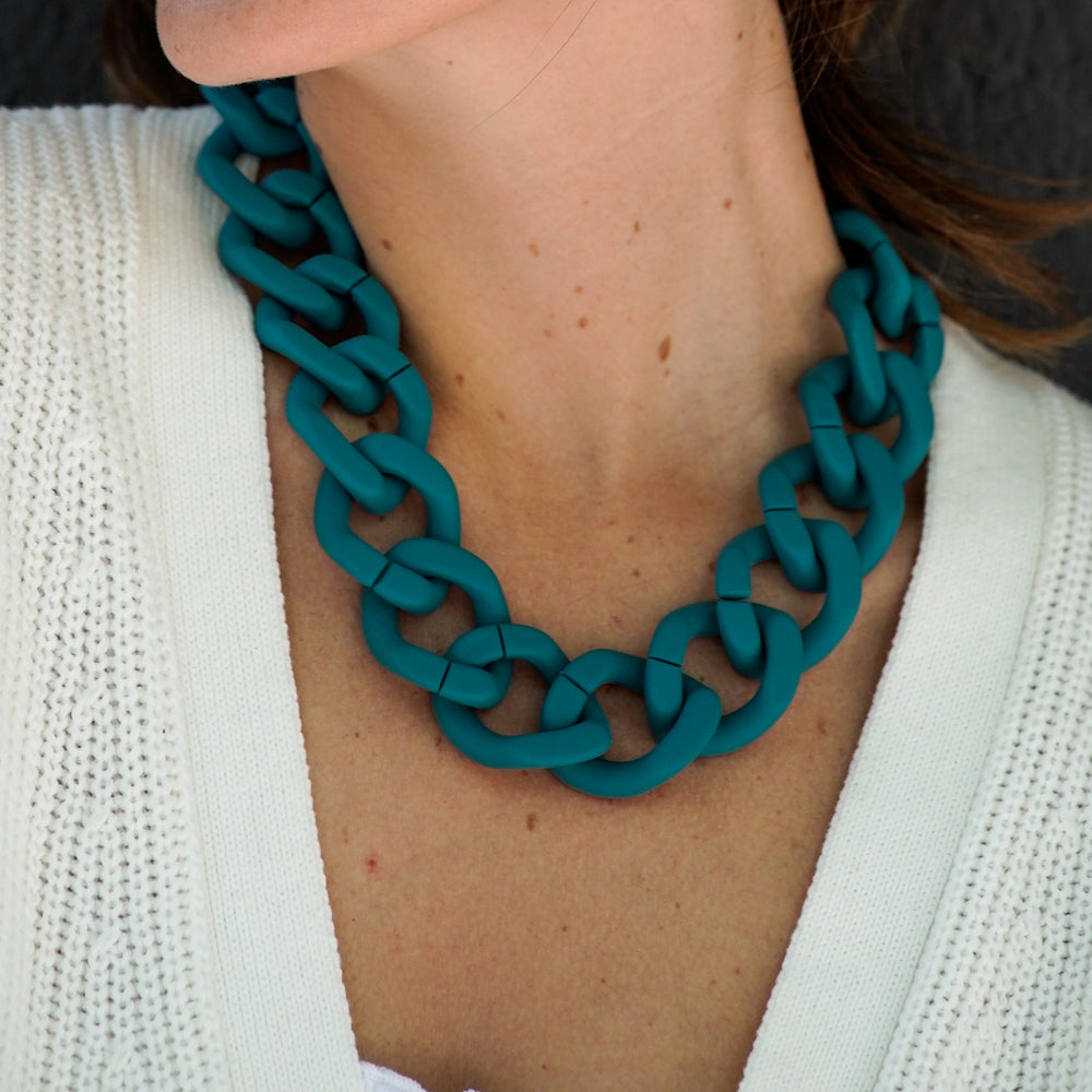 Ocean necklace in matt petrol