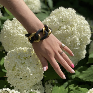 Load image into Gallery viewer, Charlotte bracelet in matt black/gold