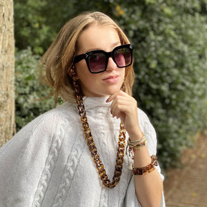 Sophie glasses medium chain in brown leopard