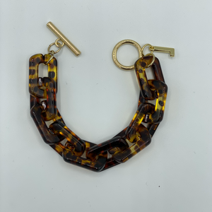 Load image into Gallery viewer, Brownie square bracelet in brown leopard