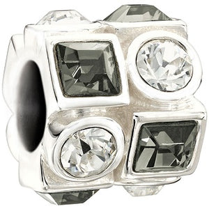 Circle and Square Black and White Swarovski Charm