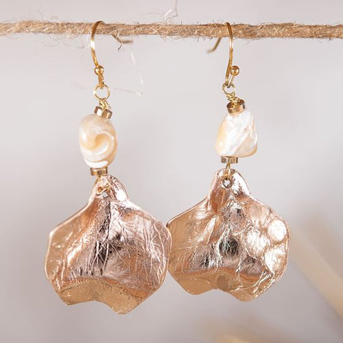 Leather Chip Earrings - Rosegold