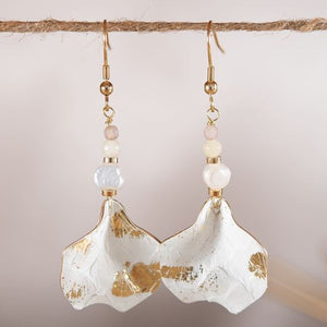Leather Chip Earrings - Ivory/Gold