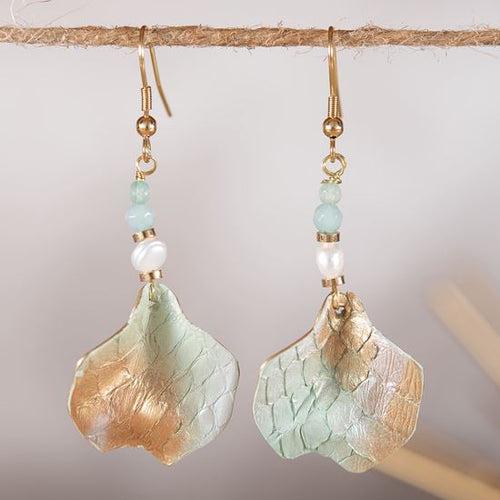 Leather Chip Earrings - Seaglass