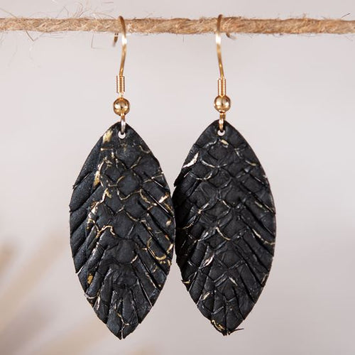 Leather Small Leaf Earrings - Black
