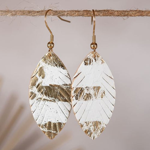 Leather Small Leaf Earrings - Ivory/Gold