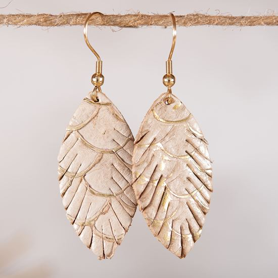 Leather Small Leaf Earrings - Tan