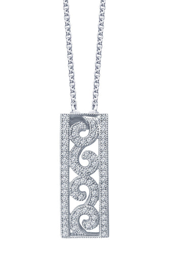 Simulated Diamond Filigree Pendent Necklace