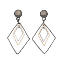 Load image into Gallery viewer, Two Tone Concentric Geo Earrings