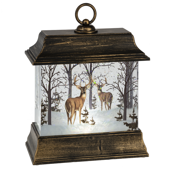 Lighted LED Shimmer Deer Lantern