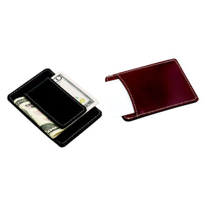 Brown Leather Money Clip and Card Holder