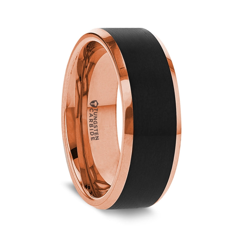 Rose Gold Plated Ring with Brush Black Center