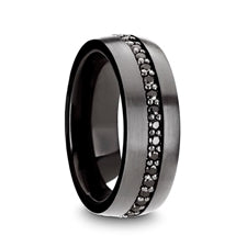 Gunmetal Ring with Black Sapphires