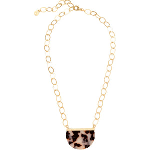 "Spartina Pretty Petal Necklace 19"" White Tortoise"