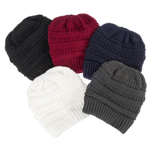 Solid Color Ponytail Knit Beanie