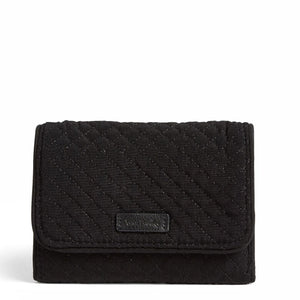 Microfiber RFID Riley Compact Wallet in Classic Black