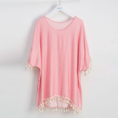 Dusty Rose Cover-Up with Tassels