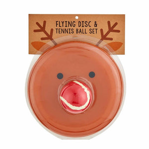 Reindeer Flying Disc and Tennis Ball Set