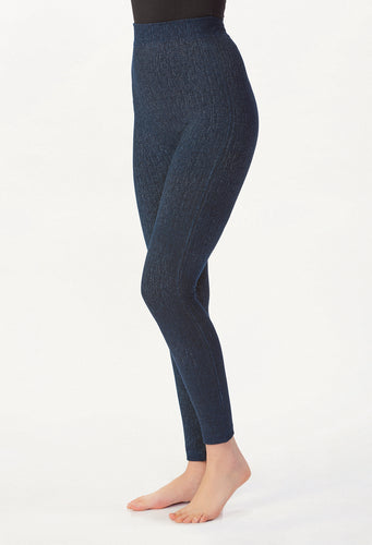 Denim Fleeced Lined Leggings, 4 Asst.