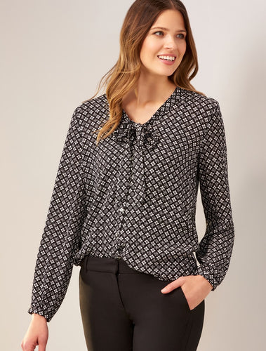 Printed Tie Neck Blouse