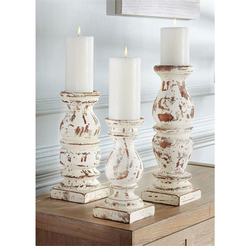 DISTRESSED CREAM CHUNKY WOOD CANDLESTICK