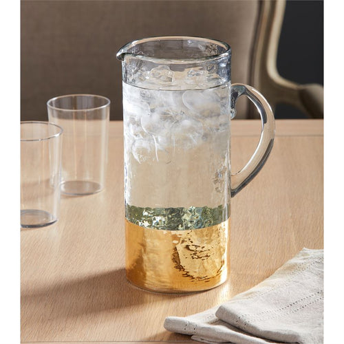 Gold Hammered Glass Pitcher