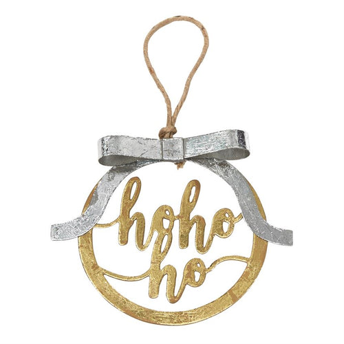 HO HO HO Gold Ornament