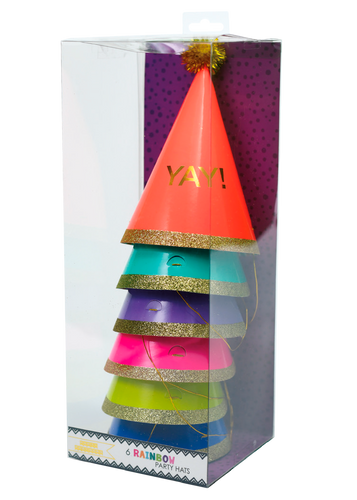 6 Rainbow Party Hats