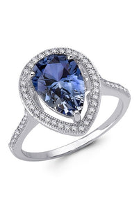 Simulated Sapphire Pear Cut Halo Style Ring