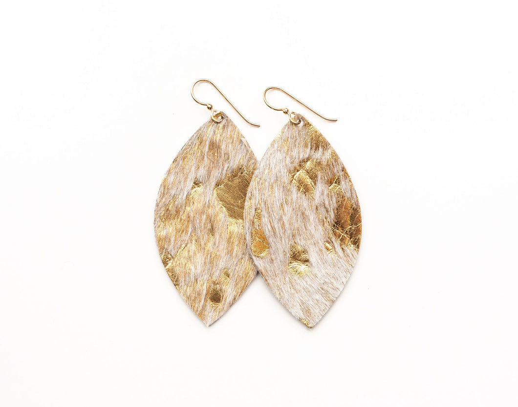 Gold Foil Leather Earring