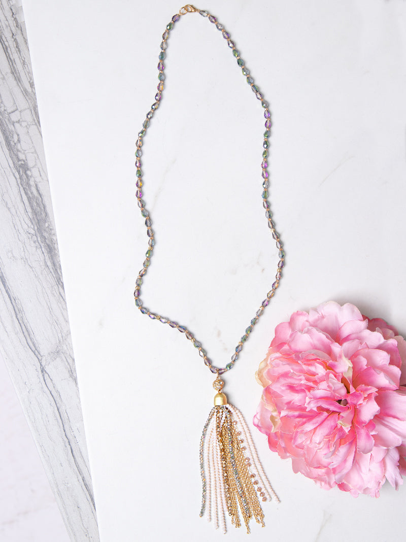 Shining Crystal tassel Necklace