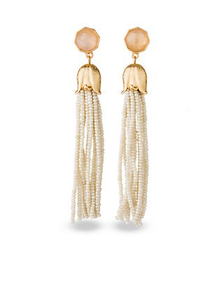 Cream Bellflower Tassel Earrings