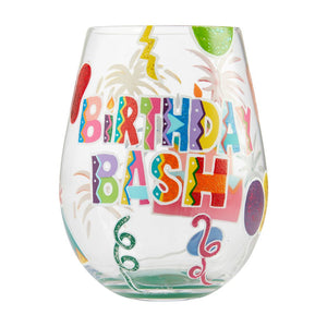 Birthday Bash Acrylic Stemless Wine Glass Set